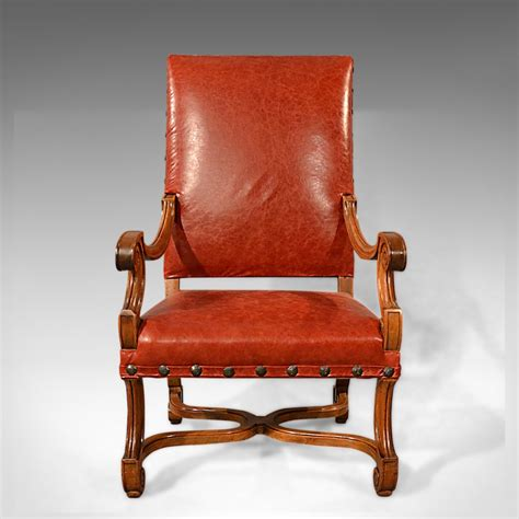 antique leather chair large antique leather armchair walnut frame 1287