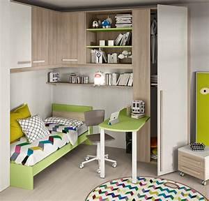 Cameretta angolare con un letto colorata Camerette a