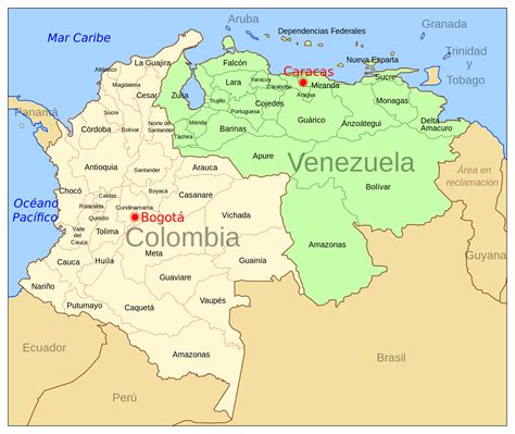 large political map  colombia  venezuela
