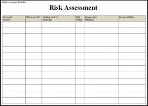 risk assessment template  printable word templates