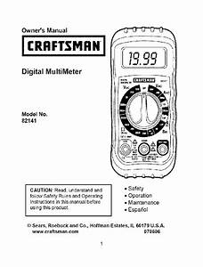 Craftsman 82141 Multimeter Owner U0026 39 S Manual Pdf View  Download