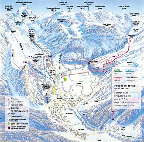 Pralognan la Vanoise cross-country skiing piste map ...