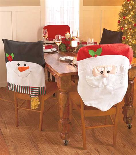 dinner table chair covers snowman set of 2 holiday chair slip covers christmas