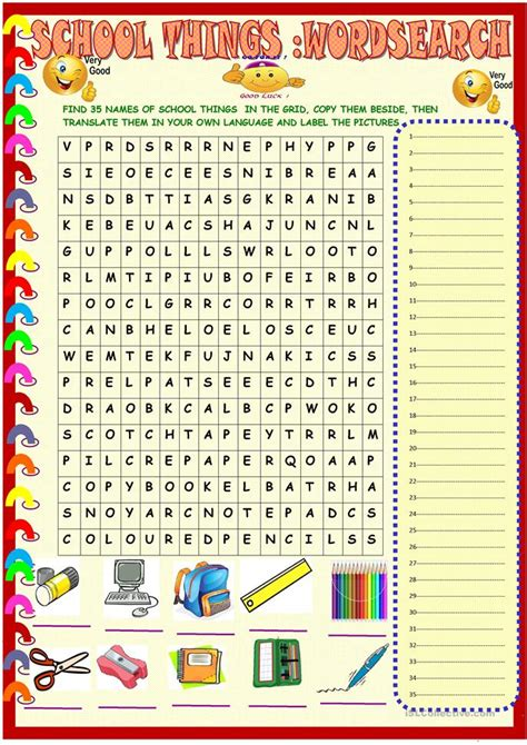 school  wordsearch  key worksheet  esl