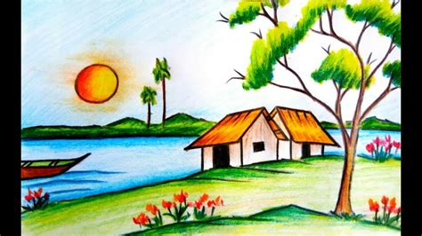 Village Boat Drawing by How To Draw A Beautiful Village Scenery Step By Step With