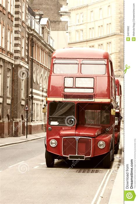 Vintage Photo Of Red London Bus Stock Photography Image