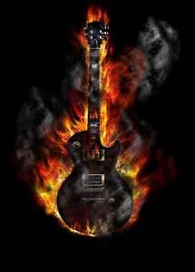 Fototapete Brennende Gitarre • Pixers® Wir leben, um zu