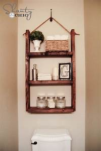Diy bathroom storage handspire for Pictures of bathroom shelves