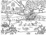 Coloring Spring Pond sketch template