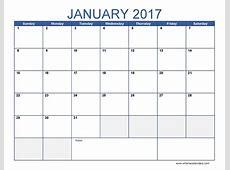 2017 January Calendar PDF