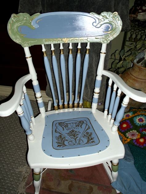 antique rocking chair  leather seat woodworking