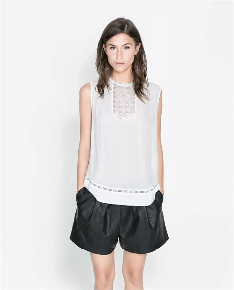 zara blouse zara lace blouse in white ecru lyst