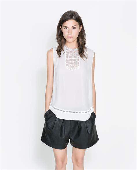 zara white blouse zara lace blouse in white ecru lyst