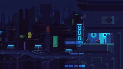 Animated Pixel Wallpaper - blue balcony by kirokaze on deviantart