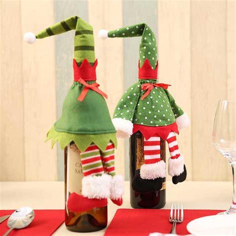 christmas santa claus snowman doll wine bottle covers
