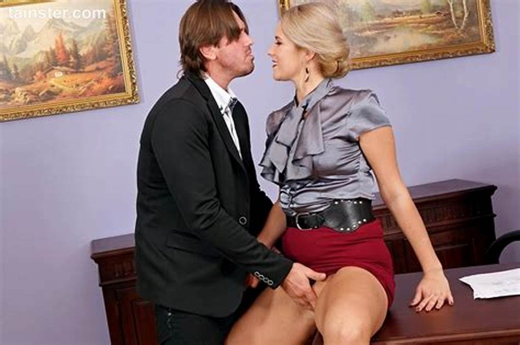 #Hot #Secretary #Slides #Her #Panties #Aside #To #Fuck #Her #Boss #At