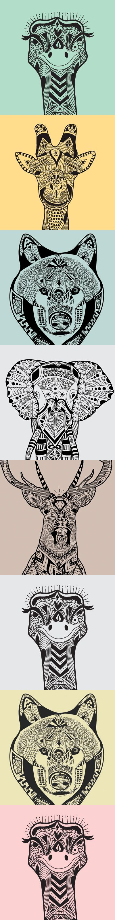 wild animals zentangle patterns zentangle  doodle
