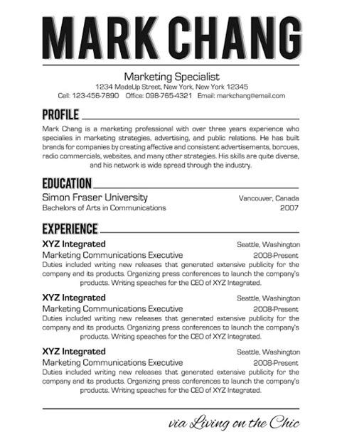 living on the chic business and professional resume