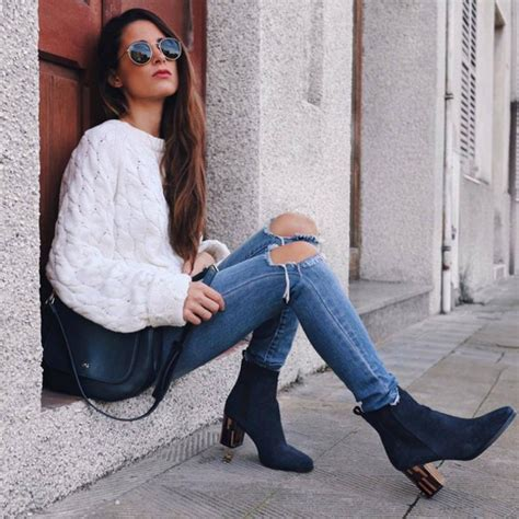 Sweater tumblr white sweater denim jeans blue jeans ripped jeans skinny jeans boots ...