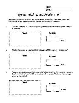 Speed, Velocity, And Acceleration Engaging Cut And Glue Worksheet Worksheets