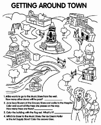 Coloring Town Around Getting Pages Worksheet Sheets
