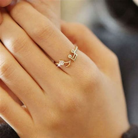 rhinestone notes threaded fashion opening adjustable ring fashion rings jewelry