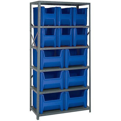 Storage Shelf  12 Bin In Plastic Storage Bins