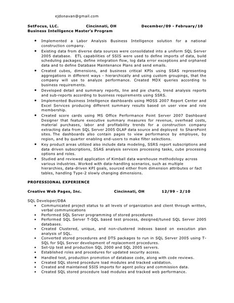 Sas Bi Developer Resume by Bi Resume Ejd