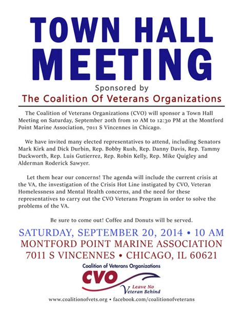 Not counting the coffee and energy drinks included in the process. Town Hall Meeting of Elected Reps on September 20 | Coalition of Veterans Organizations
