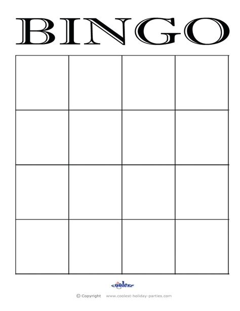 Bingo Template Printable Printable Bridal Shower Bingo Template Blank