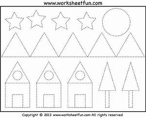 tracing shapes worksheet for kindergarten letters With shape tracing templates