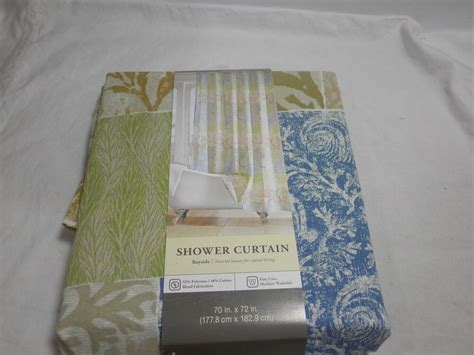 New Kohl's Fabric Shower Curtain Bayside 70x72 Brown Green And Blue Medallion Horizontal Striped Fabric For Curtains Dunelm Mill Swish Curtain Track Blackout Argos Ie Blue Green Bamboo Beaded Door Australia Sizes Of Sheer Eco Friendly White Trim