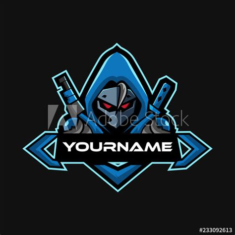 blue hoodie mysterious warrior  sports mascot gaming logo