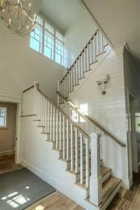 Shiplap, Stairwell, Light, Wood, Floor, White, Shiplap, Walls, Entry, Ideas, Shiplap, Stirs, Wood