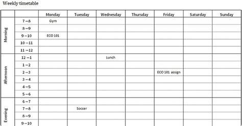 study planner  timetable  study australia