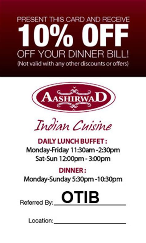indian cuisine aashirwad spicy dishes 10 coupon