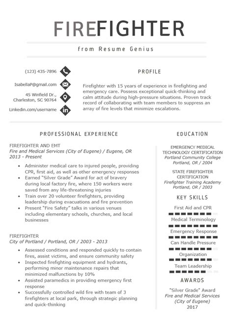firefighter resume template firefighter resume sample amp writing guide resume genius 21718 | firefighter resume example template