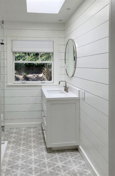 shiplap mirror tiles complete  bathroom windsorone