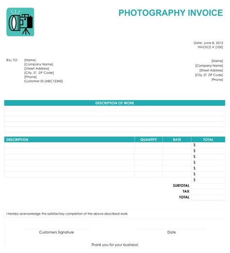 photography invoice