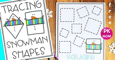 printable tracing shapes worksheets  preschool