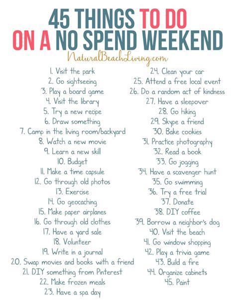 50 No Spend Weekend Activities that Everyone Loves