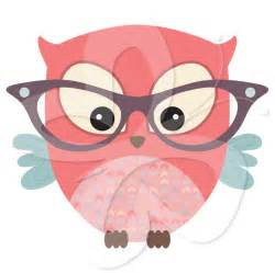 Cute Owl with Glasses Clip Art
