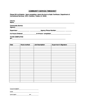 community service hours log sheet template forms
