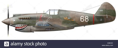 Illustration of a Curtiss P40-C Warhawk of the Flying ...