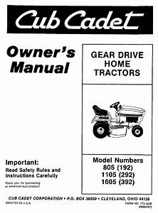 Cub Cadet Lawn Mower 1605  392  User Guide