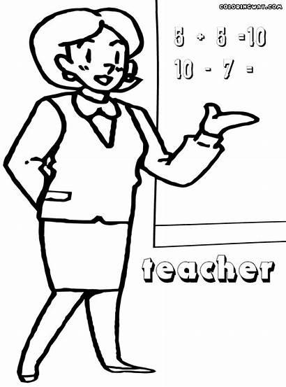 Teacher Coloring Sheet Blackboard Colorings Lady
