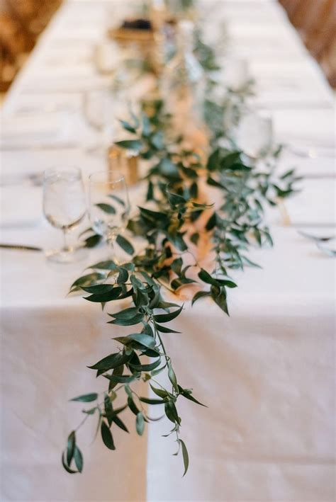 simple greenery foliage table runner  italian ruscus