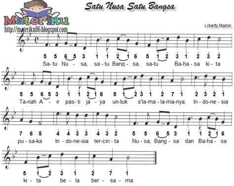 lagu indonesia raya not balok kumpulan not angka lagu wajib nasional lengkap materiku