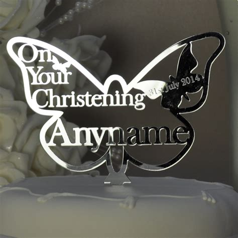 personalised christening butterfly cake topper keepsake mirror acrylic  shop  wishes