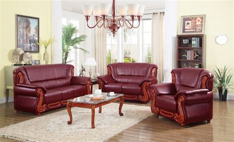 burgundy living room set 632 sofa in burgundy bonded leather w optional items